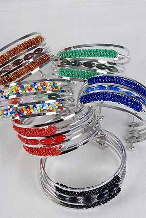 Bracelet Bangle Acrylic Ovel Bead & Indian Bead Mix /dz ** Ne w Arrival** 6 Color Asst