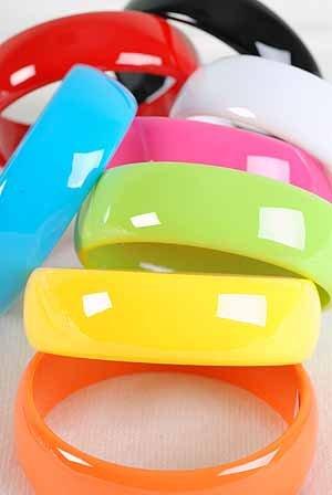 Bracelet Bangle 3'' Wide Solid Color Asst/DZ 8 Color Asst,3'' Wide