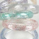 Bracelet Bangle Acrylic With Glitters 3'' Wide/DZ 6 Color Asst