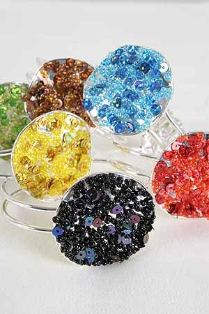 Bracelet Bangle Circle W Bead & Sequins/DZ ** New Arrival** 6 Color Asst -