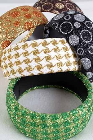 Bracelet Bangle Glitter Circles & Checker Mix/DZ ** New Arrival** Asst Color& Patterns