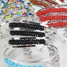 Bracelet Bangle W Solid Color Beads/dz ** New arrival** 6 color asst