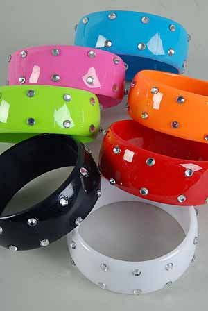 Bracelet Bangle Wide Acrylic With Stones 3'' Wide/DZ Color Asst