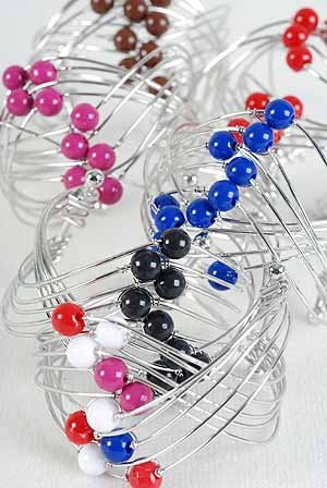 Bracelet Bangle Wire With Solid Beads Color Asst/DZ **New Arrival** 6 Color Asst