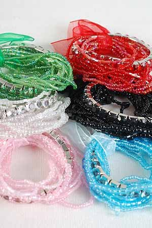 Bracelet Beads W Ribbons 6bColor Asst/DZ 6 Color asst,Stretch