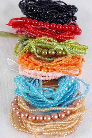 Bracelet Bunch Pearl With Beads, Stretch/DZ 6 Color Asst