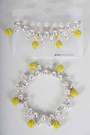 Bracelet CC Beads W Tennis Epoxy Stretch/DZ ** New Arrival** Stretch