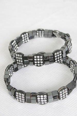 Bracelet Hematite With Squar Blocks/DZ **Stretch** New arrival