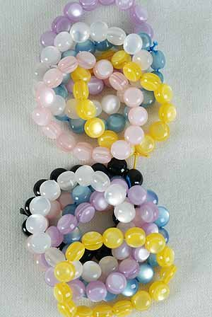 Bracelet Lucite Round Pearl Finish/DZ **Stretch** Color Asst