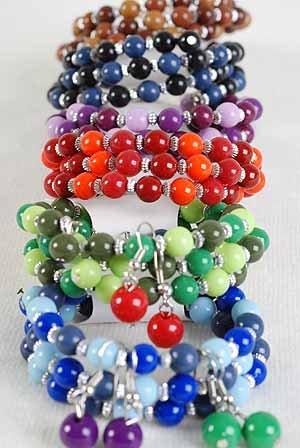 Bracelets & Earring Sets Flexable W Solid Beads/DZ **NEW** 6 Color Asst,Flexable
