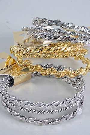 Bracelets 3pcs Bangle Twist /DZ ** Bangle 3pcs Twist,Choose Gold or Silver