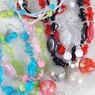 3pcs Necklace Sets Lucite Marble W Beads/DZ 6 Color Asst