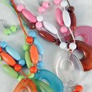 Necklace Sets Beads with Large Teardrop Pandent/DZ 6 Color Asst