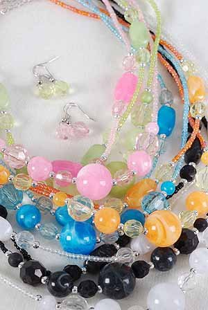 Necklace Sets Marble Ball W2string Beads/DZ 6Color Asst
