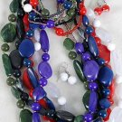 3pcs Necklace Sets Acrylic Beads W Marble Blocks Beads/DZ 6 Color Asst