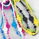 3pcs Necklace Sets Circle W Acrylic Beads/DZ **NEW**3pcs Sets,Color Asst