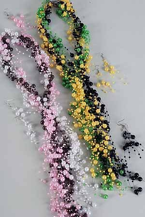 Necklace Set 30'' Pearl Beads/DZ Asst colors
