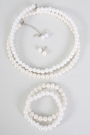 Choker Set Pearl 8mm W Bracelet,16''/DZ **New Arrival** Bracelet Is Stretch With ABS Pearl