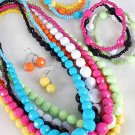 3pcs Necklace Sets Large Acrylic Ball WDialmond Cut/DZ 7 Color Asst