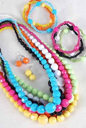 3pcs Necklace Sets Large Acrylic Ball WDialmond Cut/DZ 7 Color Asst