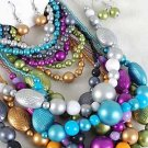 3pcs Necklace Sets Lucite Mett Metallic W Beads/DZ 7 Color Asst