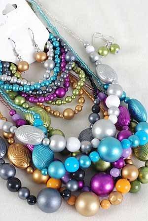 3pcs Necklace Sets Lucite Mett Metallic W Beads/DZ 7 Color Asst