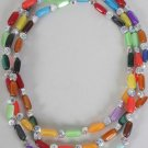 Necklace Lucite Oblong Multi/DZ