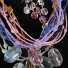 Necklace Set Beads With Large Ovel Acrylic Drops/Dz **NEW** 6 Color Asst