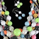 Necklace Set Lucite Large Ball W CC Beads/DZ ** New arrival** Color Asst