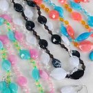 Necklace Set Lucite Ovel Marble Block w Beads Orange Black Blue White Pink Tealgreen 6 Color Mix