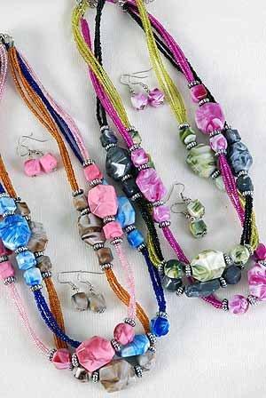 Necklace Set Marble Block W Silver Antique Beads 24''/DZ/dz **NEW** 6 Color Asst,24'' Long