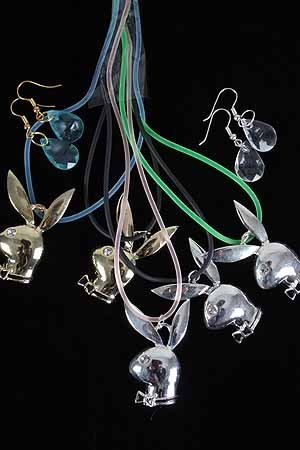 Necklace Set Rabbit W Rhinestone/DZ/DZ **HOT** Color asst,High Polish Cast,Gold or Silver Finish