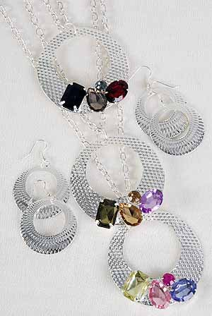 Necklace Set Silver Chain With Circle With Acrylic Stones/DZ Color Asst