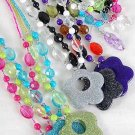Necklace Sets Large Poly Flower Pendant With Trans parent Beads/DZ 6 Color Asst