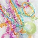 Necklace Sets Large Round Pendant With Transparent Colors/DZ 7 Color Asst