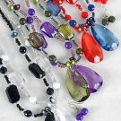 Necklace Sets Large Teardrop Pendant With Transparent BeadsZ 6 Color Asst