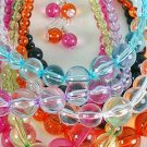 Necklace Sets 22mm Transparent Ball Necklace/dz 7Color Asst