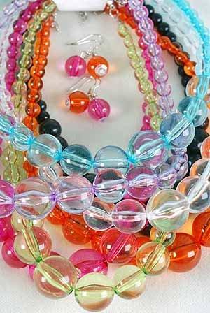Necklace Sets 22mm Transparent Ball Necklace/dz 7Color Asst