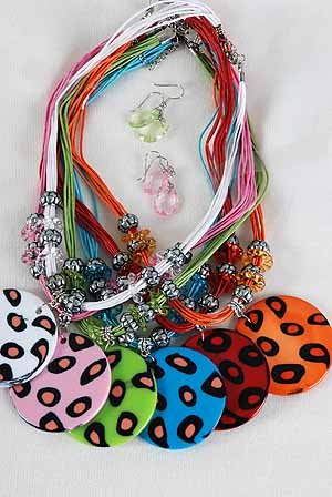 Necklace Sets Animal Print W Circle Disk/DZ ** New Arrival** Color Asst