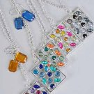 Necklace Sets Cast Oblong W Acrylic Stones/DZ 6 Color Asst -