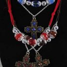 Necklace Sets Cc Beads W Large Cross/DZ **New Arrival** Antique Finish 6 Color Asst