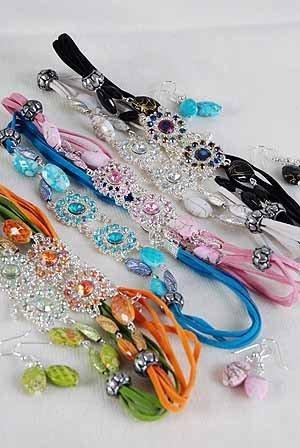 Necklace Sets Choker W AB Color Stones/DZ ** New Arrival**6 Color Asst