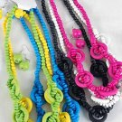 Necklace Sets Circle With Woven Beads/DZ 6Color Asst
