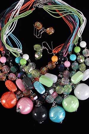 Necklace Sets Large Ball Lucite W Crystals/DZ 6Color Asst