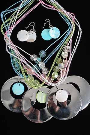 Necklace Sets Large Metal Disk W Shells/DZ ** New Arrival** 6Color Asst