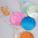 "Necklace Sets Large Seashell Circle 3""x3""/DZ 6 Color asst"
