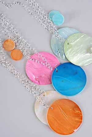 """Necklace Sets Large Seashell Circle 3""""x3""""/DZ 6 Color asst"""
