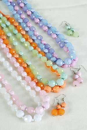 Necklace Sets Lucite W Cotton Candy Colors 22''/DZ ** New Arrival** 6 Color Asst