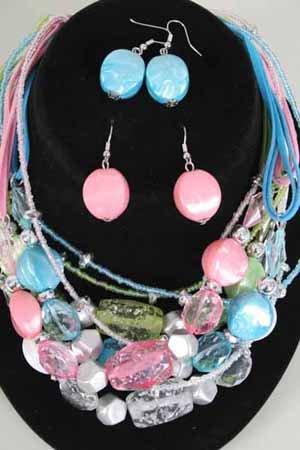 Necklace Sets Lucite W Crystal Blocks/DZ ** New Arrival** 6 Color asst