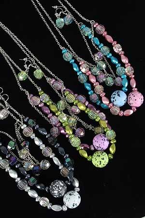 Necklace Sets Lucite W KLarge Poly Ball/DZ ** New Arrival** 6 Color Asst